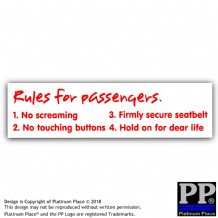 1 x Rules for Passengers-external,Car,Van,Sticker,Sign,Meme,Funny,Comedy,Racing